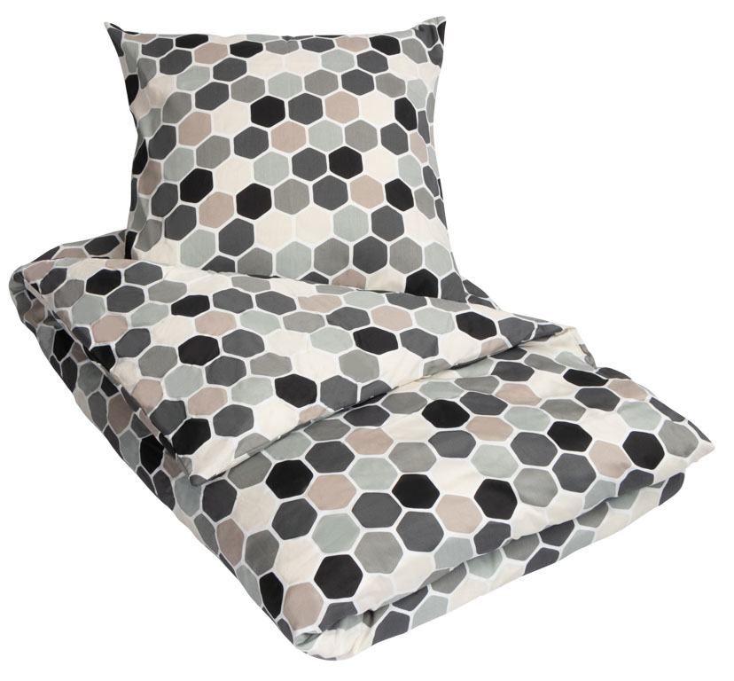 sengetøj med lynlås KIngsize sengetøj   100% Bomuldssatin   Cube Grå   240x220 cm sengetøj med lynlås