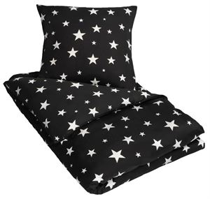 Kingsize sengetøj - 100% Bomuldssatin - By Night - Star sort - 240x220 cm