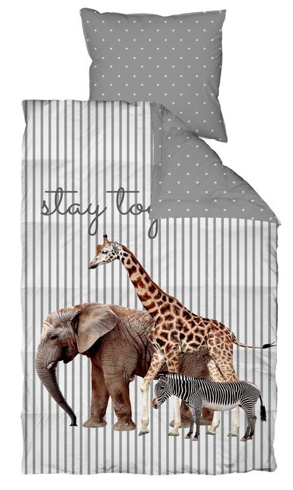 Afholte Baby sengetøj med giraf, elefant og en zebra. 70x100 cm - 100 ZK-08