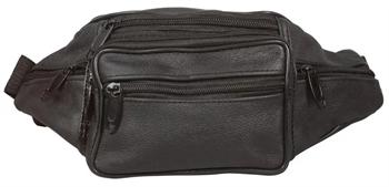 Billede af Bæltetaske sort læder look - med 7 rum.