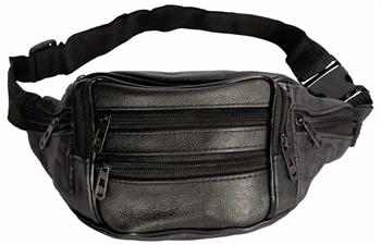 Billede af Bæltetaske i sort imiteret læder - Mavetaske med 7 rum.