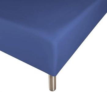 Boxlagen 90×200 cm – blå – 100% Bomuld – Faconlagen til madras