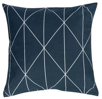 Pudebetræk 60x63 cm - Graphic - Mørkeblå - 100% Bomuld