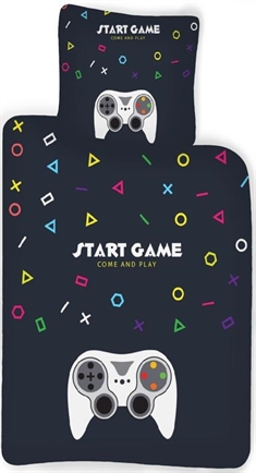 Gamer sengetøj - 2 i 1 - Start game - come and play - 140x200 cm - 100% bomuld