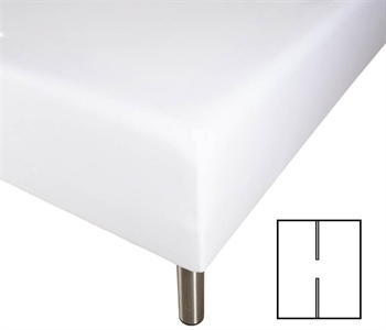 Stræklagen med H-split – 160×200 cm – Hvid – 100% Bomuld – Faconlagen til madras elevationsseng